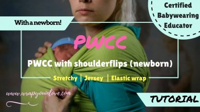 Photo of Stretchy wrap with a newborn – pretied & shoulderflips!