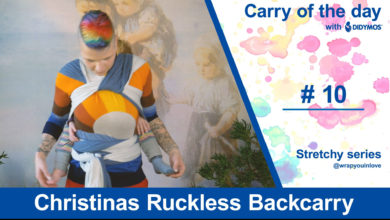 Photo of Christinas Ruckless Backcarry – Stretchy wrap babywearing