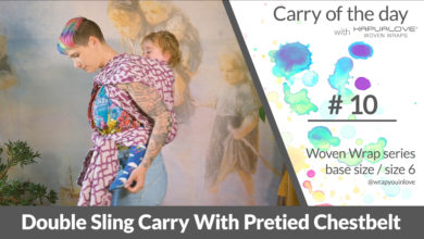 Photo of Double Sling Carry with pretied Chestbelt –  Woven wrap – series (size 6 / base size)