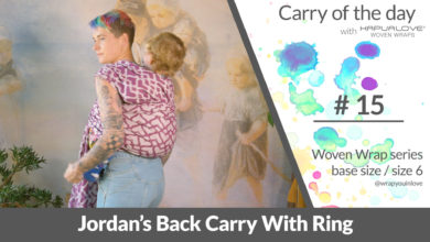 Photo of Jordans Back Carry with a ring – Woven wrap – series (size 6 / base size)